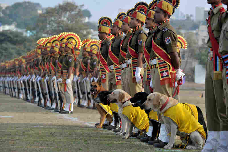 Indian Railway Protection Force dog squad personnel take part in a celebratory march in Secunderabad.