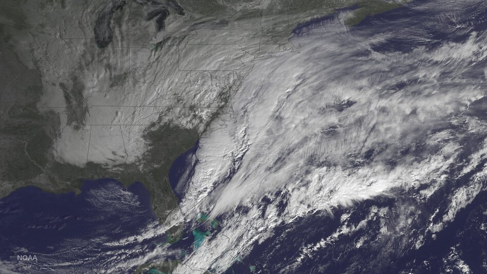 The National Oceanic and Atmospheric Administration posted this photo taken Monday of the storm bearing down on the U.S. Northeast. (NOAA)