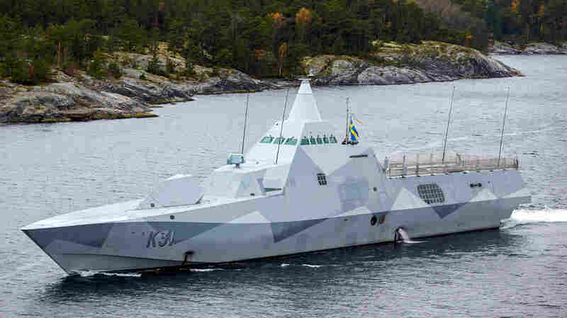 Swedish navy corvette HMS Visby patrols in the Stockholm Archipelago, Sweden, in October 2014. The Swedish military was searching for evidence of suspected undersea activity in its waters amid reports of a suspected Russian submarine intrusion.