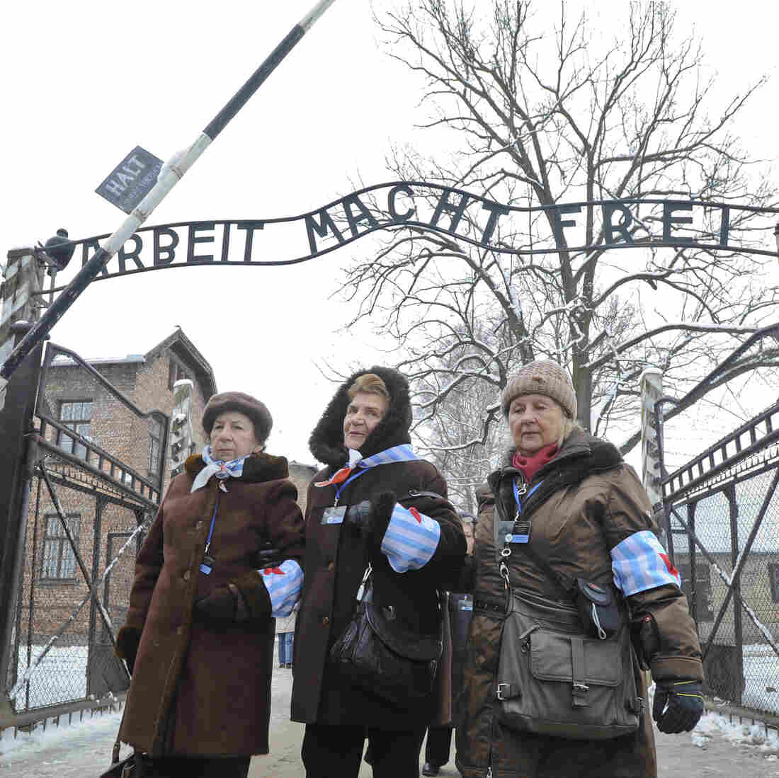 Holocaust survivors walk outside the gate of the of the Auschwitz Nazi death camp in Oswiecim, Poland, on Tuesday.