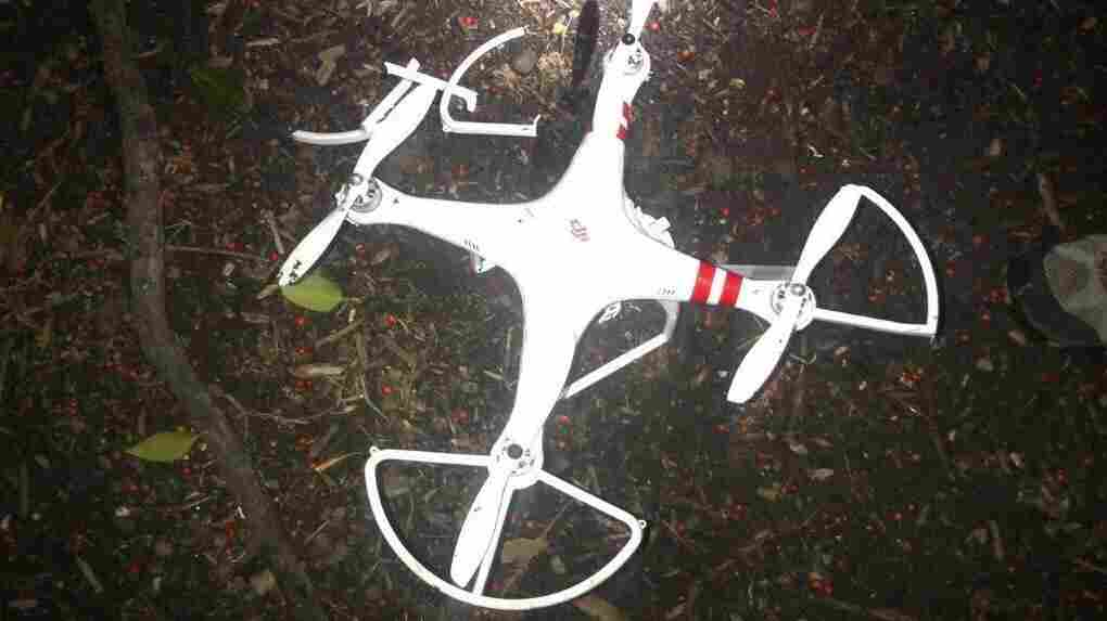 "The Secret Service released this photo of a ""quad copter"" that crashed on the White House grounds Monday. The agency says the copter's operator reported crashing it this morning."