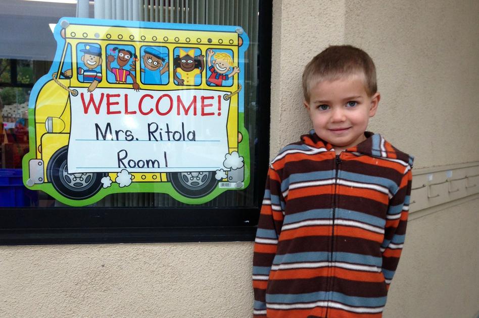 Rhett Krawitt, 6, outside his school in Tiburon, Calif. Seven percent of the children in his school are not vaccinated. (Courtesy of Carl Krawitt)
