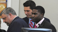 The defense gatherers after the jury was read the charges against Brandon Vandenburg, center, and Cory Batey, right, in Nashville Tuesday. The pair were found guilty of aggravated rape and aggravated sexual battery.