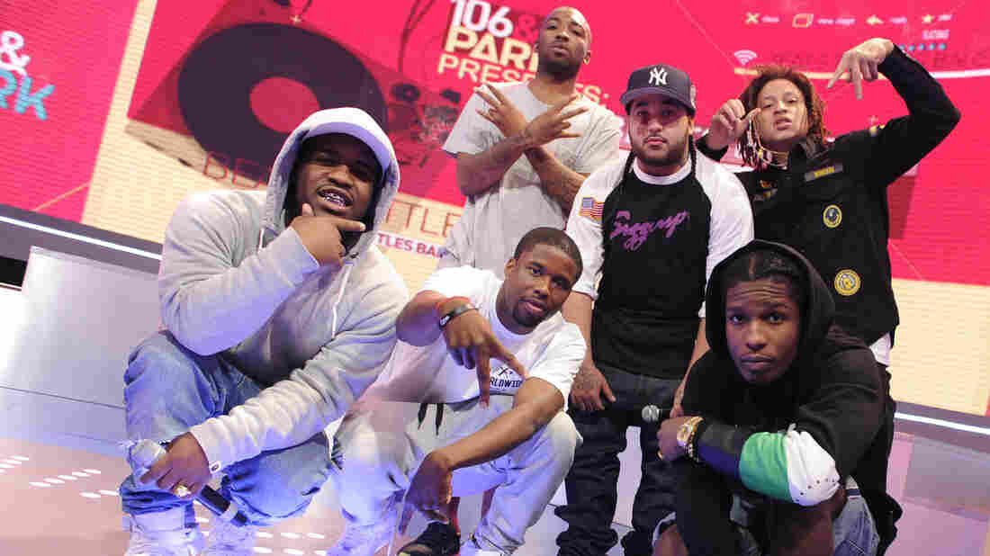 Some of A$AP Mob at BET's 106 & Park Studios in July 2013. Standing, from left to right, ASAP Bari, ASAP Yams and ASAP Illz. In front, from left to right, ASAP Ferg, ASAP Twelvyy and ASAP Rocky.