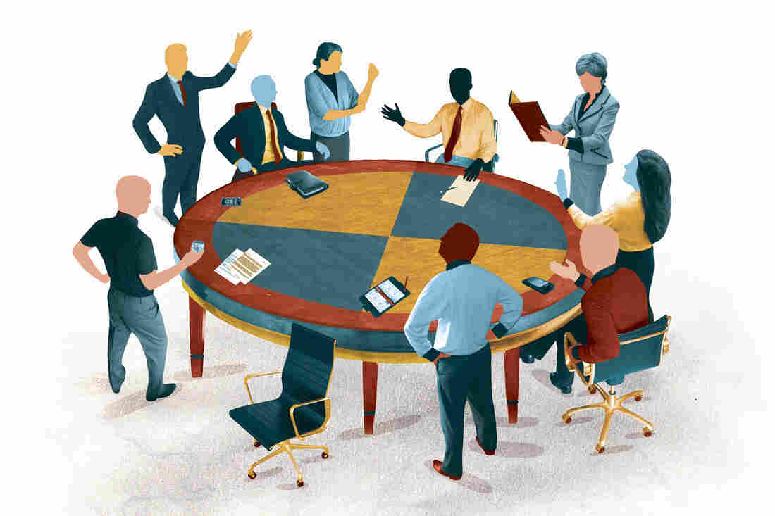 Co-workers gather around the conference table for a tumultuous meeting.