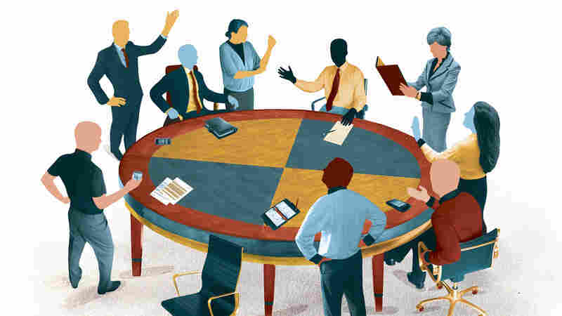 Business people arguing in meeting around conference room table.