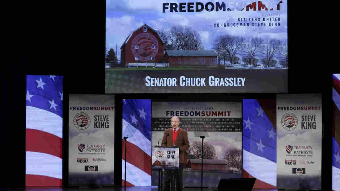 Sen. Chuck Grassley, R-Iowa, speaks during the Freedom Summit on Jan. 24, in Des Moines, Iowa.