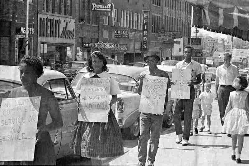 In 1960, Friendship College students march for civil rights outside of McCrory's Five and Dime Drug Store, where the Friendship Nine would later be arrested.