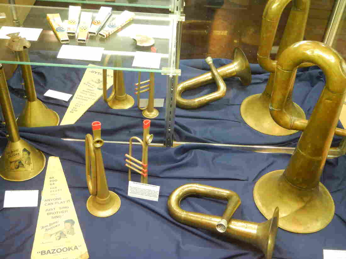 Trumpet kazoos on display at Kazoobie Kazoos, which runs both a factory and a museum out of Beaufort, S.C.