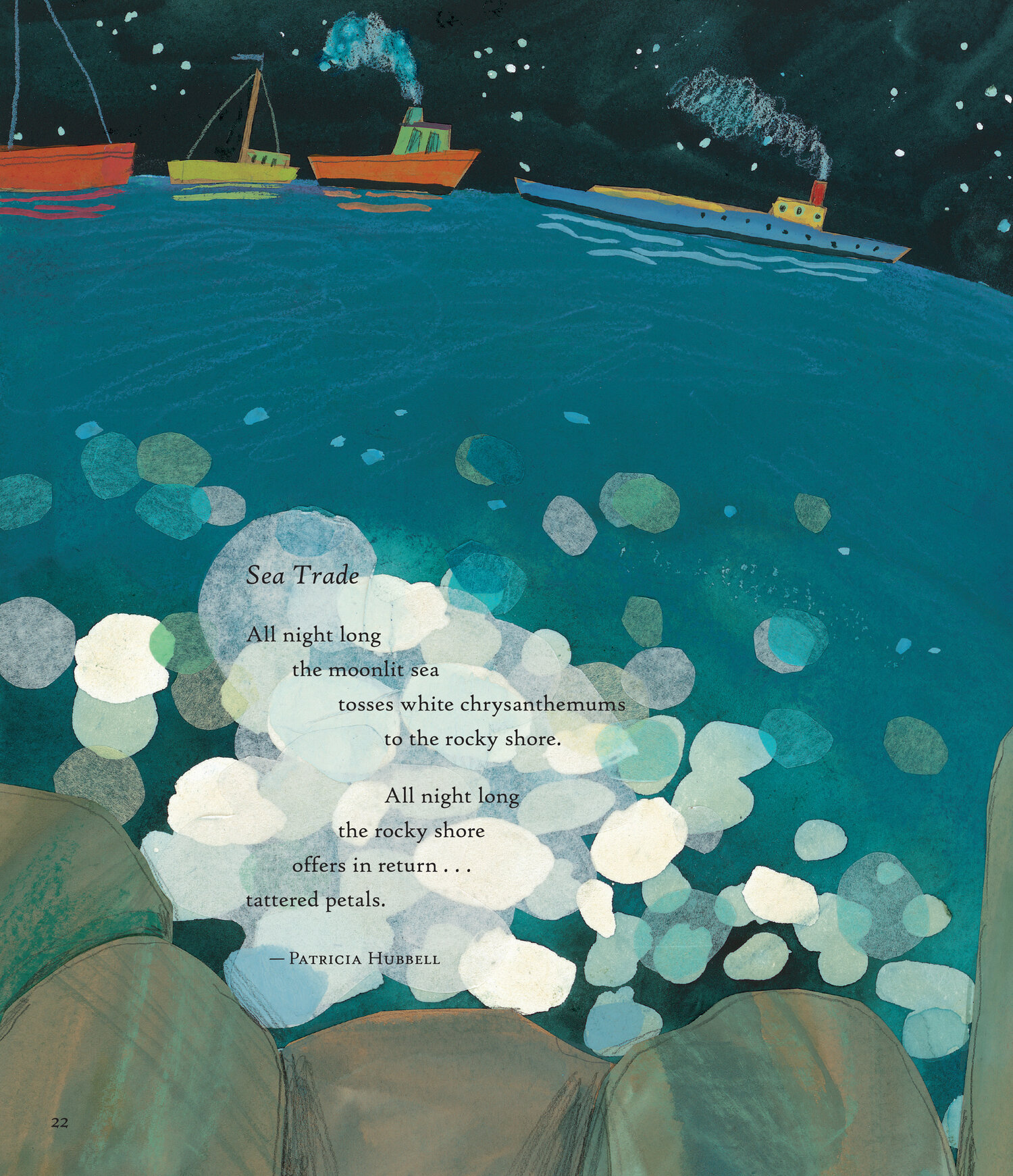 """Poems from Firefly July: A Year of Very Short Poems. Compilation Copyright 2014 by Paul B. Janeczko. Illustrations Copyright 2014 by Melissa Sweet. Reproduced by permission of the publisher, Candlewick Press, Somerville, MA. """"Sea Trade"""". Copyright 2014 Patricia Hubbell. Used by permission of Marian Reiner for the author."""