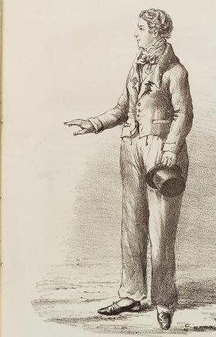 """James (Abigail) Allen, from the 1828 London publication """"An Authentic Narrative of the Extraordinary Career of James Allen, the Female Husband!"""""""