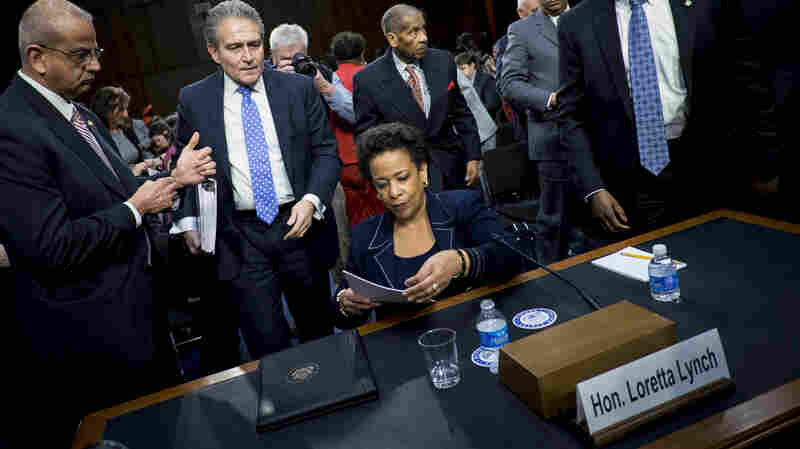 Loretta Lynch, United States Attorney for the Eastern District of New York, leaves for a lunch break during a day-long Senate Judiciary Committee hearing on her nomination to be U.S. attorney general.