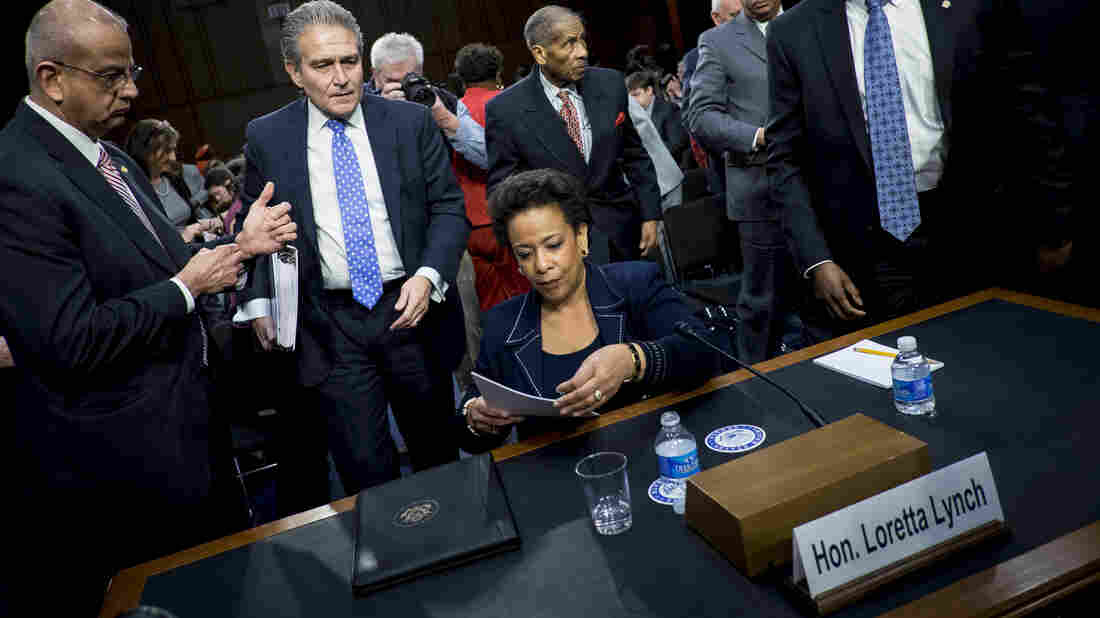 Loretta Lynch, U.S. attorney for the Eastern District of New York, leaves for a lunch break during a daylong Senate Judiciary Committee hearing on her nomination to be U.S. attorney general.