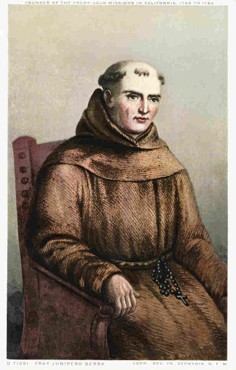 A postcard of Junipero Serra from around 1915. Pope Francis recently announced that he will canonize Serra when he travels to the U.S. this fall.