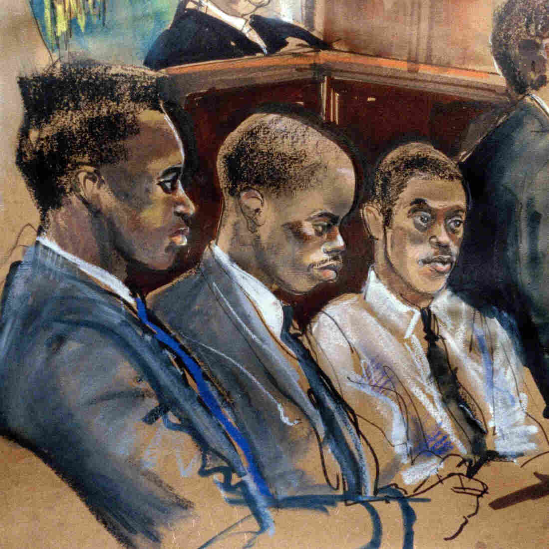 Opening statements are delivered in June 1990 in the Central Park rape trial in New York in this artist's rendering. The defendants — including Yusef Salaam (from left), Antron McCray and Raymond Santana, shown here — were convicted and imprisoned in part on what were later found to be false confessions. A new study shows it's surprisingly easy to implant memories of committing a crime.