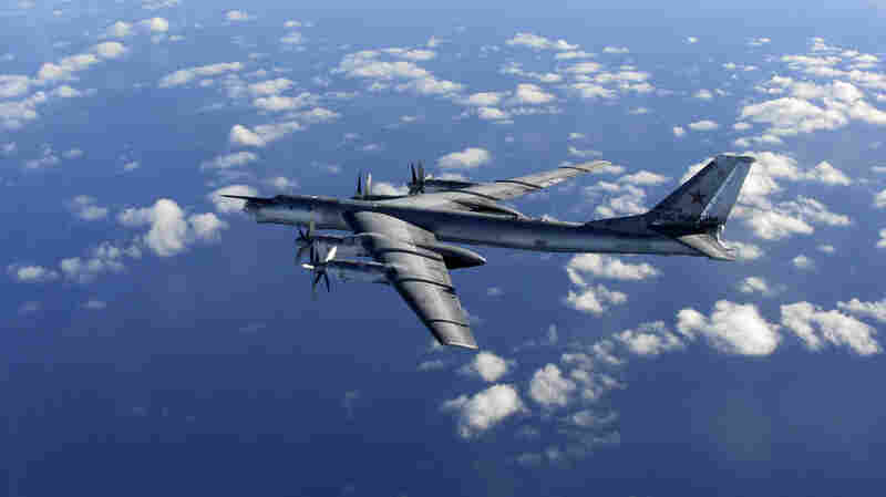 """A photo taken in October and provided by Britain's Royal Air Force shows a Russian """"Bear"""" bomber similar to the one that grazed U.K. airspace on Wednesday."""