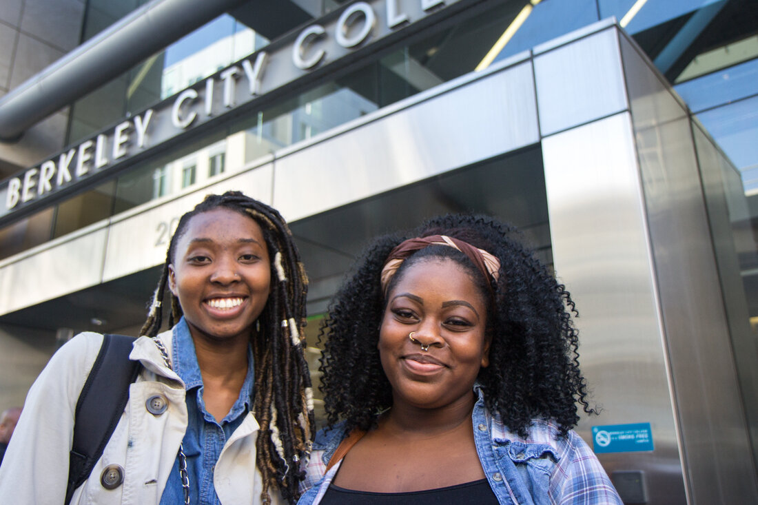 Tyfanni Edwards and Dominique Bell, both 19, have part time jobs and also attend Berkeley City College part time.