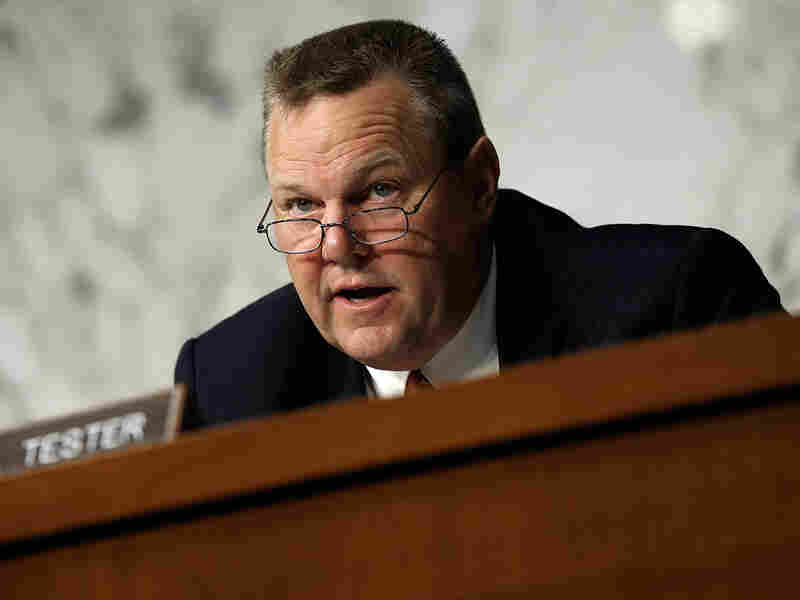 Sen. Jon Tester (D-MT) asks questions during a hearing of the Senate Veterans Affairs Committee on Sept. 9, 2014 in Washington, D.C.