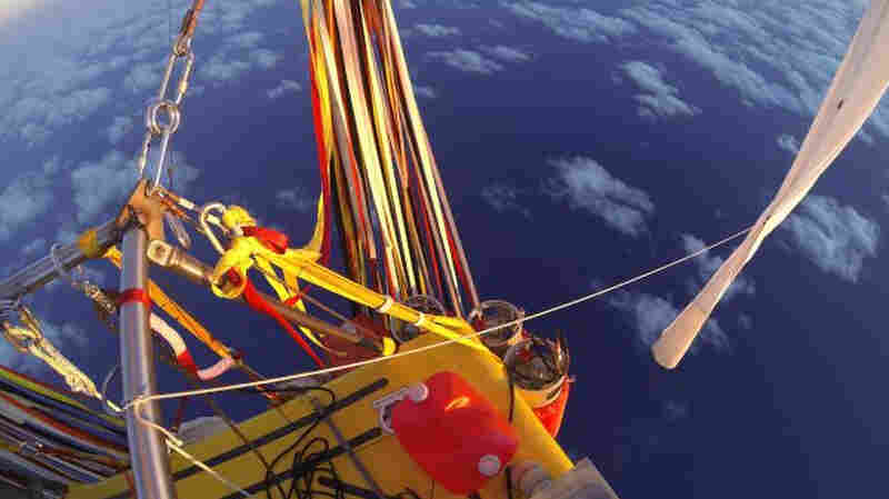 In this photo provided by the Two Eagles balloon team, Troy Bradley of New Mexico and Leonid Tiukhtyaev of Russia set off from Saga, Japan.