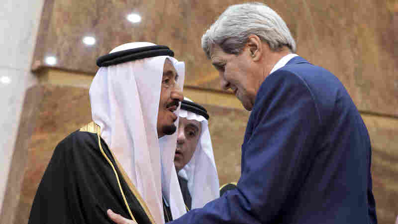 Secretary of State John Kerry greets new Saudi King Salman in Riyadh on Tuesday. the city of Boston fined Kerry $50 on Thursday for failing to clear his sidewalk after this week's massive snowstorm.