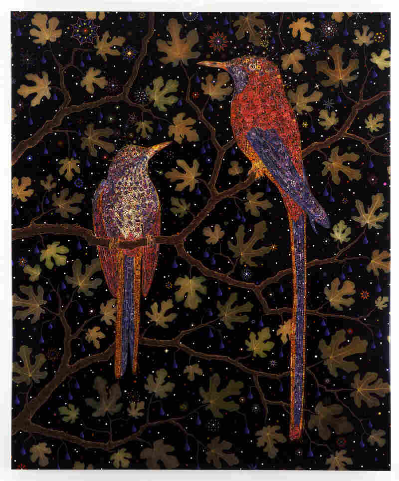 Fred Tomaselli, Migrant Fruit Thugs, 2006, leaves, photo collage, gouache, acrylic and resin on wood panel