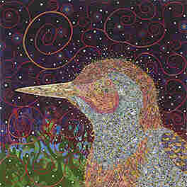 Fred Tomaselli, Woodpecker, 2008, acrylic, gouache, collage and epoxy resin on wood