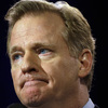 NFL Commissioner Roger Goodell speaking at a pre-Super Bowl news conference in Phoenix.