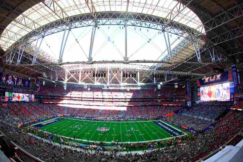 The inside of the University of Phoenix Stadium in Glendale, Ariz., in the hours before the game.