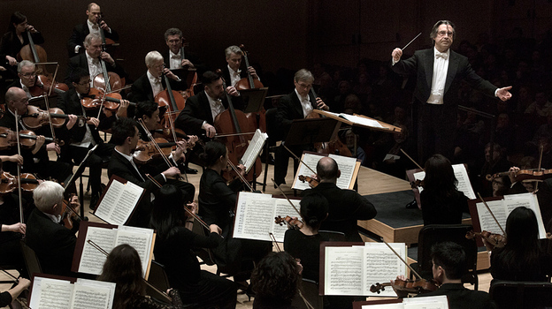 Riccardo Muti leads the Chicago Symphony Orchestra in a concert of powerhouse orchestral works at Carnegie Hall. (AJ Wilhelm for NPR Music)