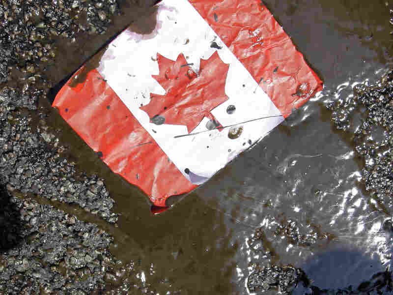 A placard with the Canadian flag rests on the ground covered in oil as demonstrators protest against the Keystone XL Pipeline and the Alberta tar sands.