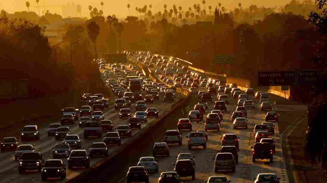 Traffic clogs the 101 Freeway in Los Angeles.