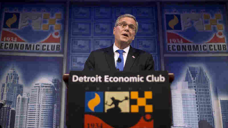 "Former Florida Gov. Jeb Bush speaks at an Economic Club of Detroit meeting on Wednesday. The Detroit event is the first in a series of stops that Bush's team is calling his ""Right to Rise"" tour. That's also the name of the political action committee he formed in December 2014 to allow him to explore a presidential run."