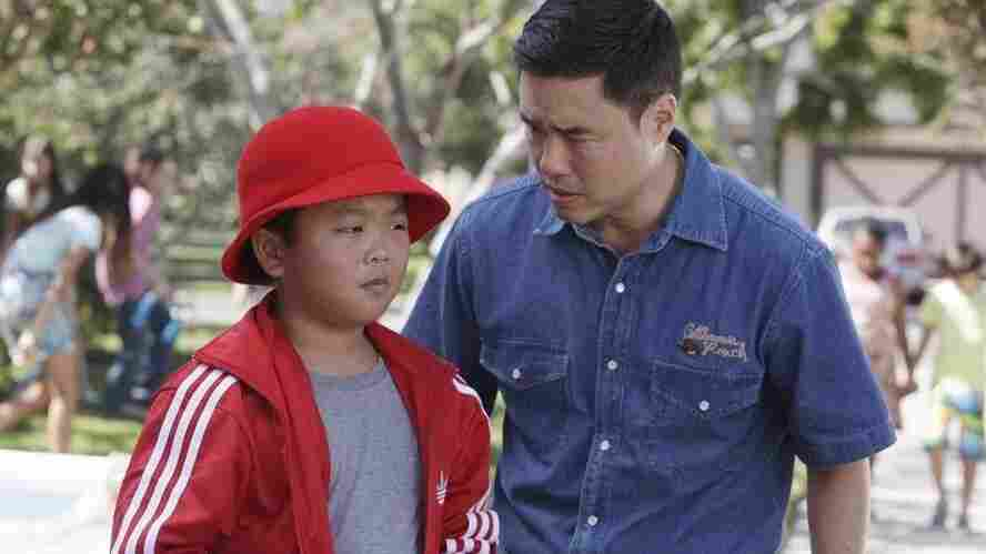 Hudson Yang and Randall Park play Eddie Huang and his dad, Louis, in Fresh Off The Boat.