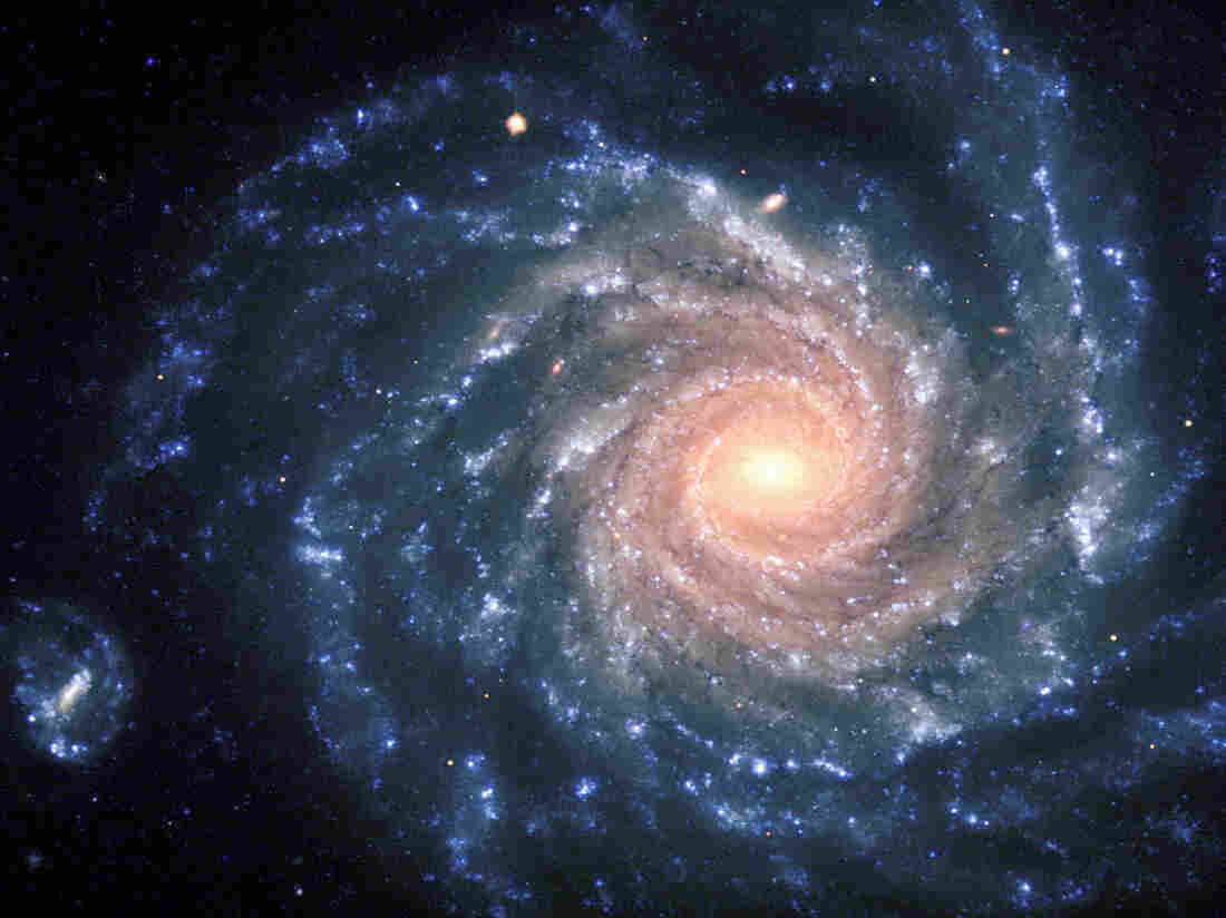 An image of the large spiral galaxy NGC 1232, located about 100 million light-years away in the constellation Eridanus (The River). The central areas contain older stars of reddish color, while the spiral arms are populated by young, blue stars and many star-forming regions.