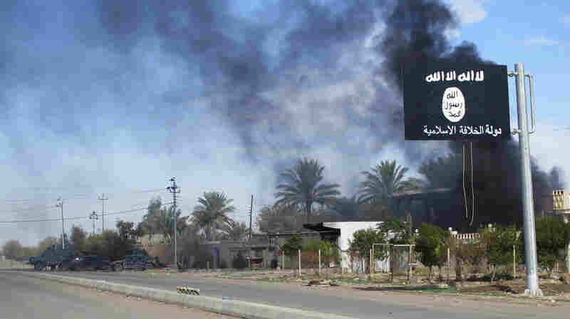 Smoke rises behind an Islamic State flag after a Nov. 24, 2014, battle with Iraqi security forces in Diyala province.