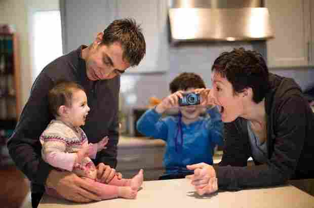 Mark, Stella, Leo and Mary at home: Life now seems almost normal.