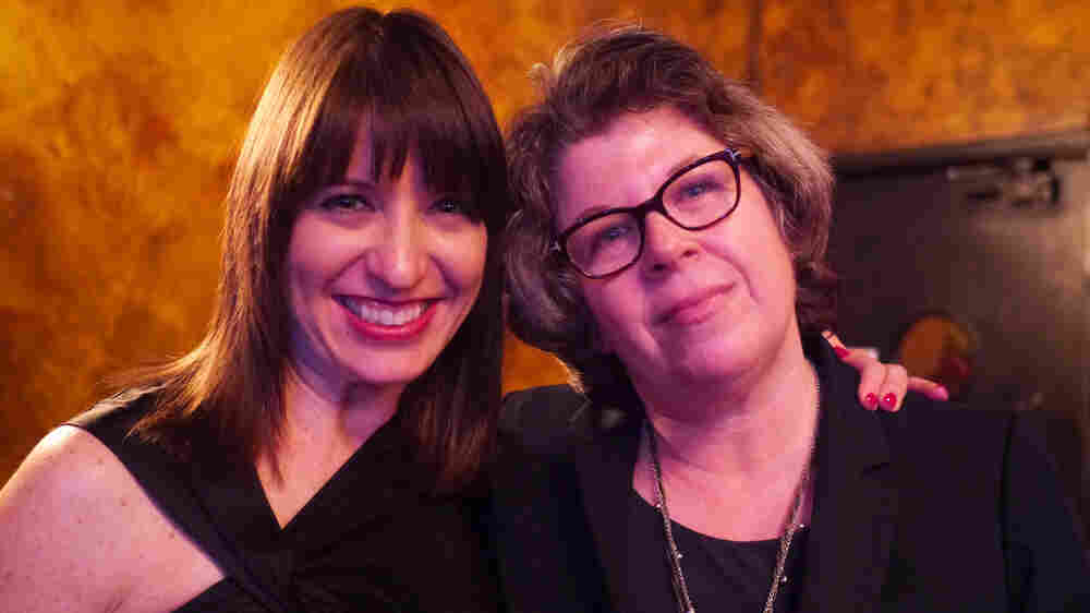 Ask Me Another host Ophira Eisenberg and author (and Very Important Puzzler) Meg Wolitzer.
