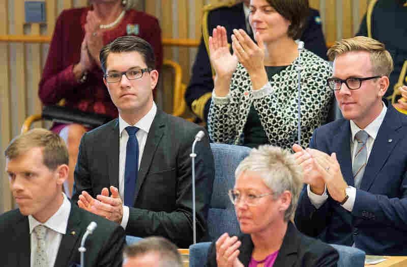 Jimmie Akesson, leader of the Sweden Democrats Party (top left), attends the opening of the Swedish Parliament in Stockholm in September.