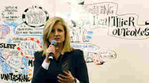 """Arianna Huffington, president and editor-in-chief of The Huffington Post Media Group, speaks at the 2014 World Economic Forum. Reporters and editors in 15 countries will contribute to """"What Works,"""" her site's new initiative focused on covering positive news."""