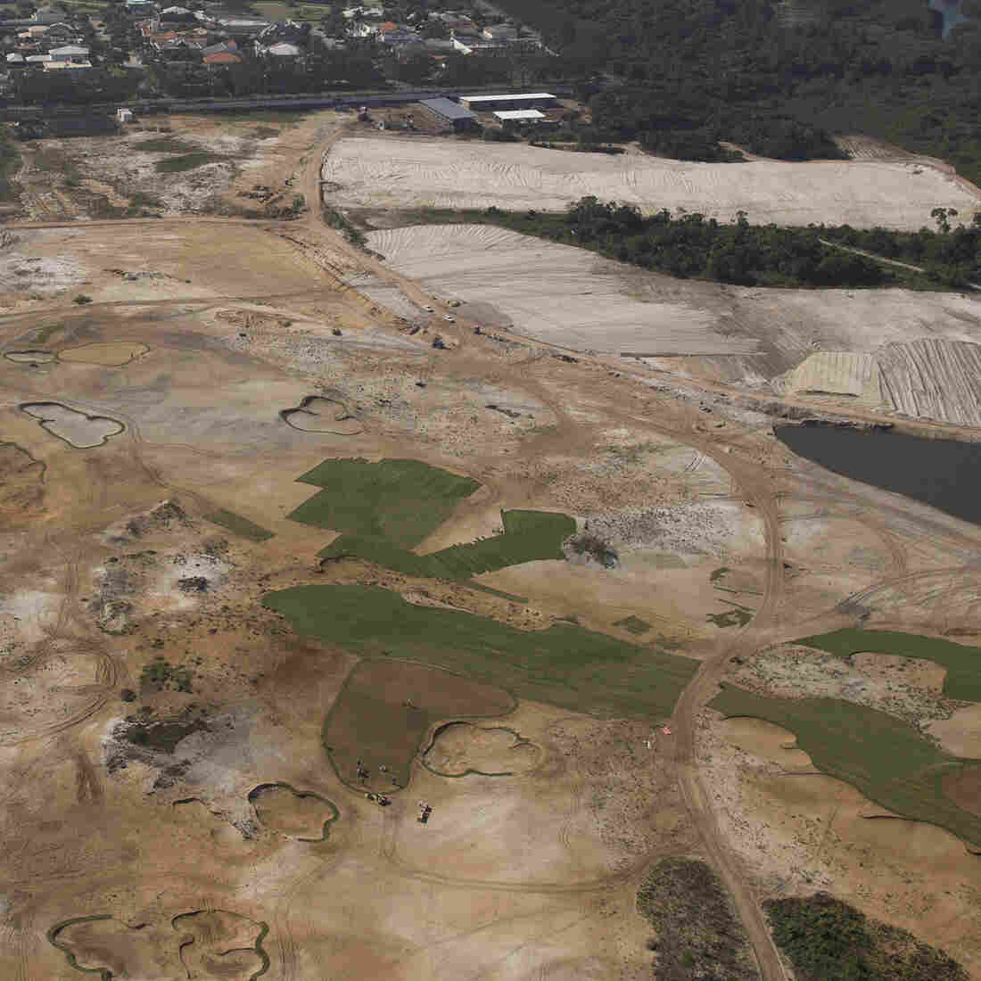 An aerial view of the Rio 2016 Olympic golf course under construction in Rio de Janeiro, Brazil.