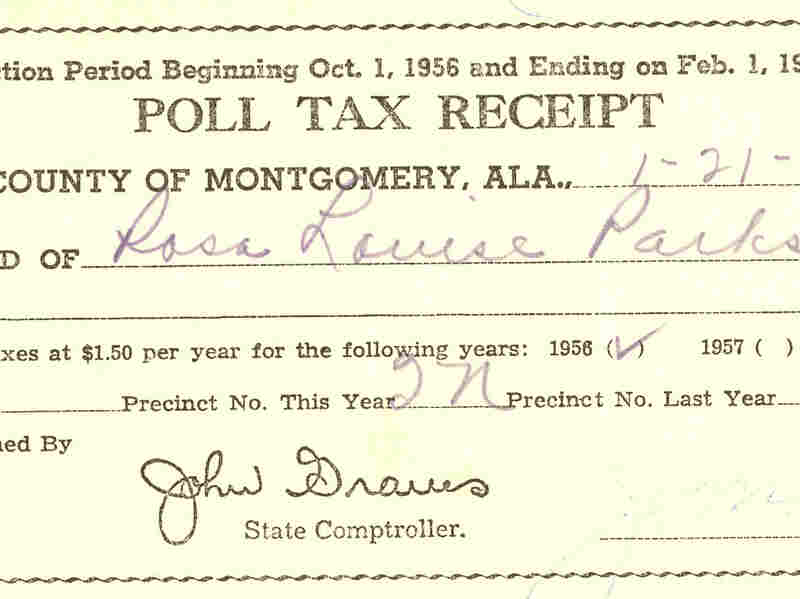 Rosa Parks' poll tax receipt from 1957. Even after achieving the right to vote, many hurdles like the poll tax were imposed to prevent African-Americans from voting.