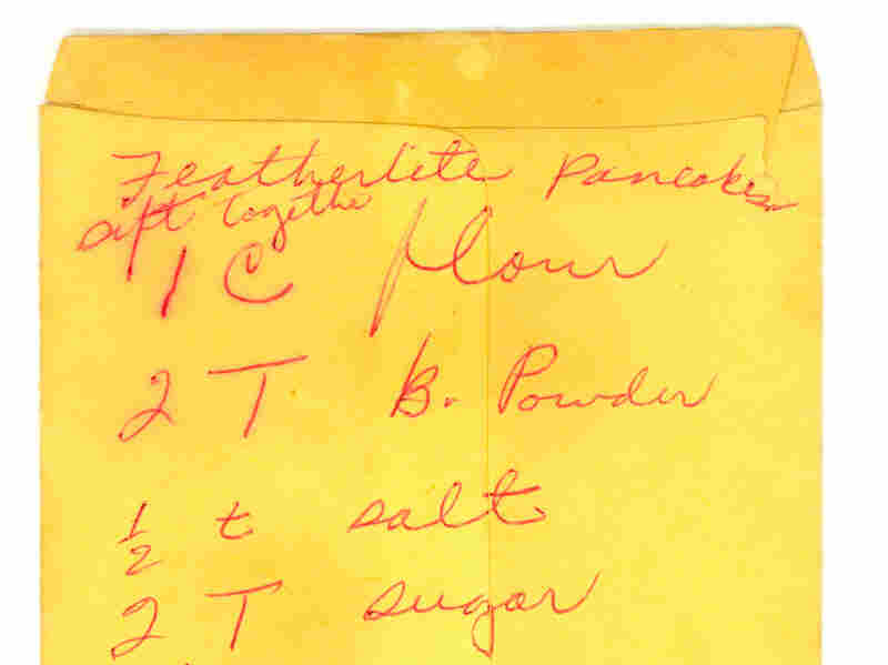 """An undated recipe for """"featherlite"""" pancakes, written in Parks' hand, is also part of the archive."""