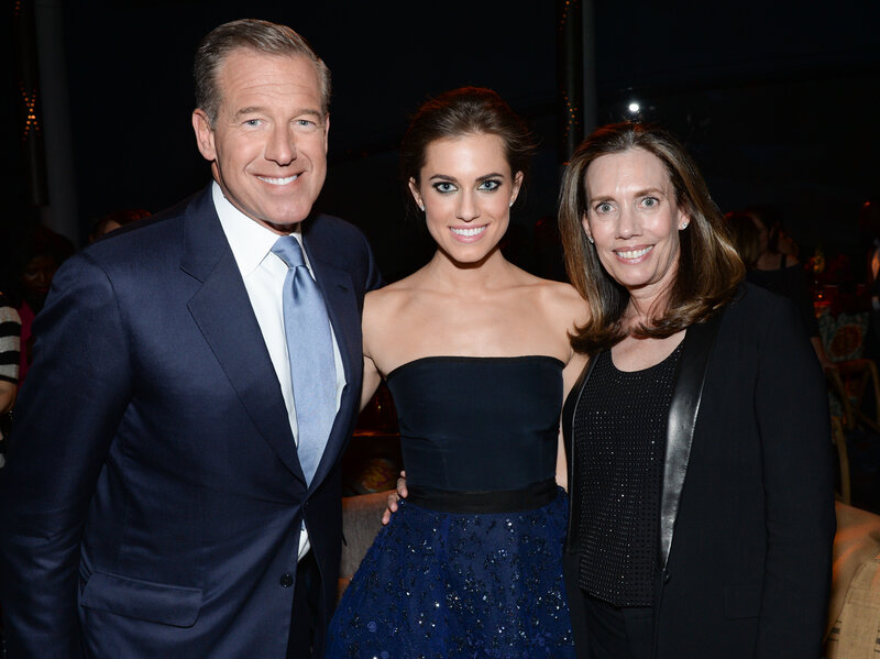 "NBC News anchor Brian Williams with his daughter, actress Allison Williams, and his wife Jane Williams at HBO's ""Girls"" fourth season premiere party in New York."