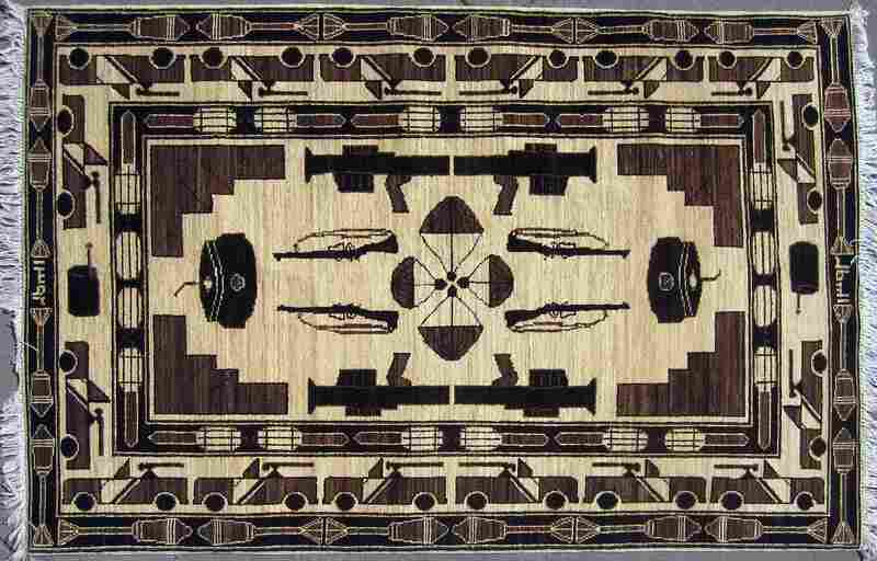Some rugs feature various weapons of war, including guns and tanks.