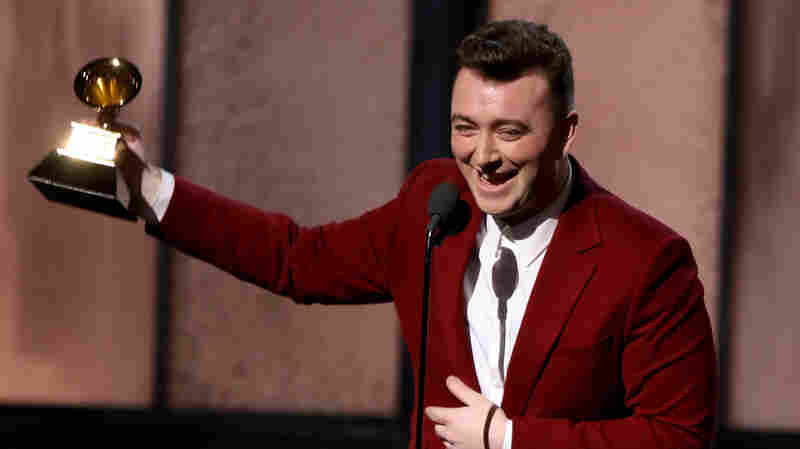Sam Smith accepts the award for Best New Artist at the 2015 Grammy Awards.