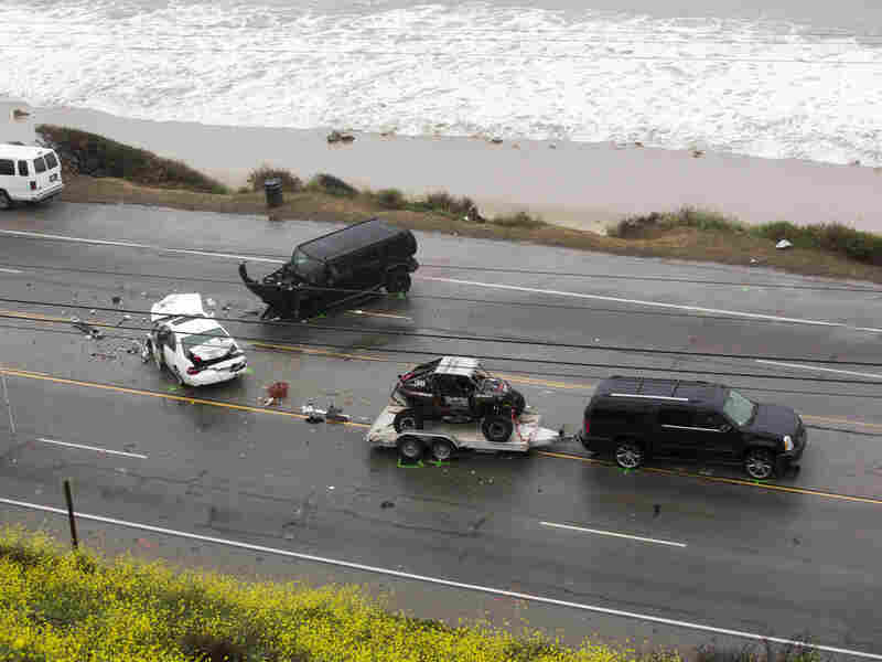 An SUV with a trailer belonging to reality-TV star Bruce Jenner was involved in a crash where one person was killed and seven seven others taken to a hospital on Saturday.
