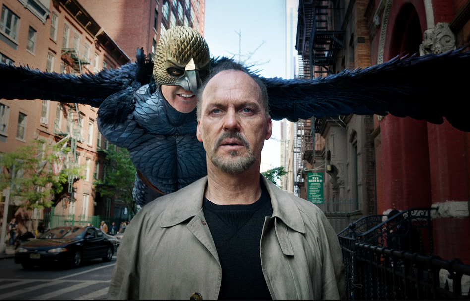 In <em>Birdman</em>, Michael Keaton plays both the actor Riggan Thomson, who is having an identity crisis, and his alter ego, Birdman, who badgers him because he gave up a lucrative Hollywood career for a play in an old Broadway theater. (Courtesy of Fox Searchlight)