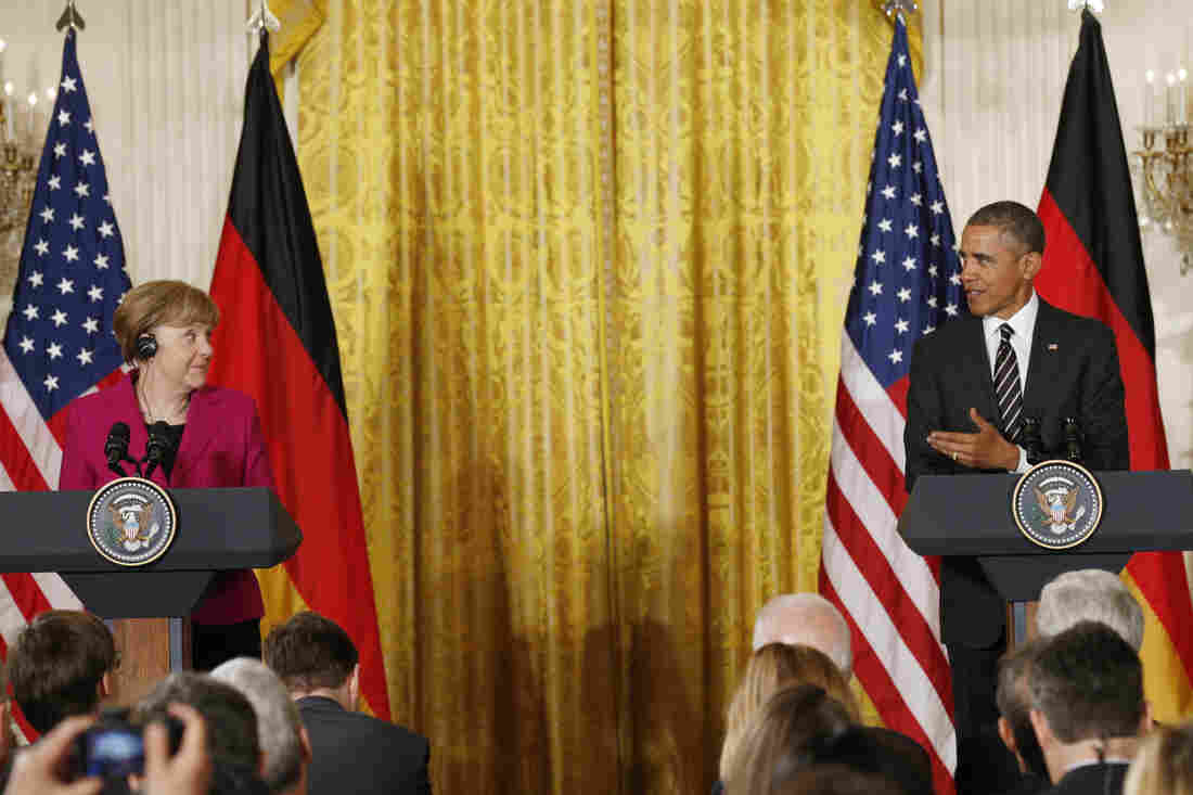 President Obama and German Chancellor Angela Merkel hold a joint news conference at the White House on Monday.