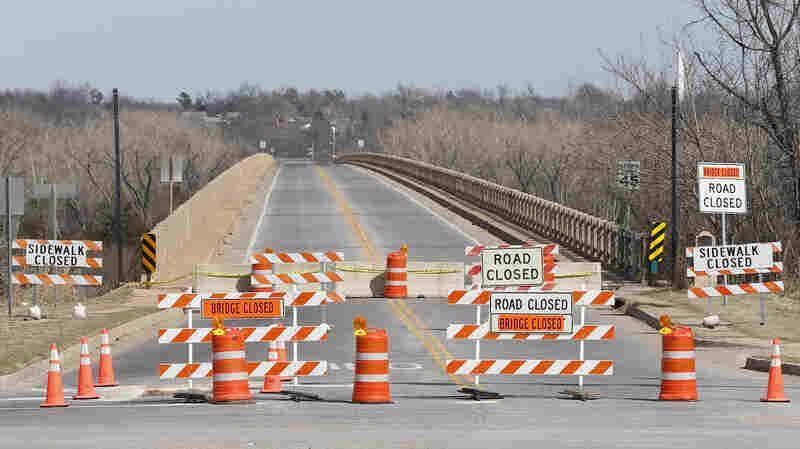 The James C. Nance Memorial Bridge, which connects Purcell and Lexington, Okla., is closed for repair in March 2014. A handful of states have raised their gas taxes in part to fund transportation projects like bridge and road repairs.