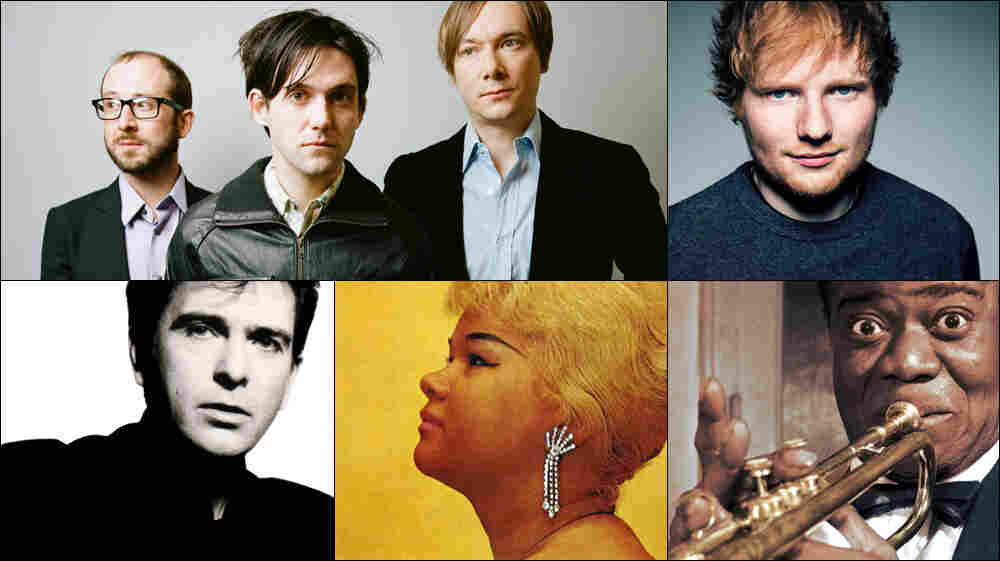 Clockwise from upper left: Bright Eyes, Ed Sheeran, Louis Armstrong, Etta James, Peter Gabriel